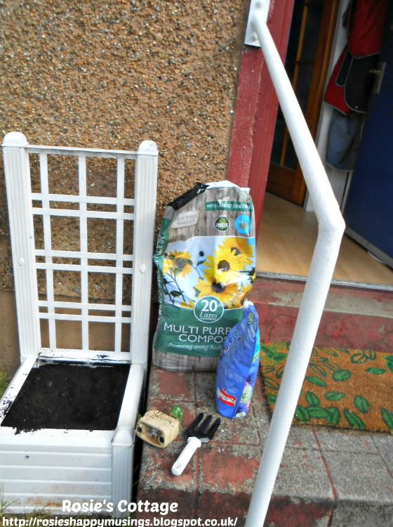 Large planter by the front door is filled with fresh compost to become the new home for our miniature roses.