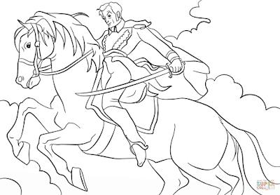 simón Bolívar a caballo en caricatura dibujo para colorear