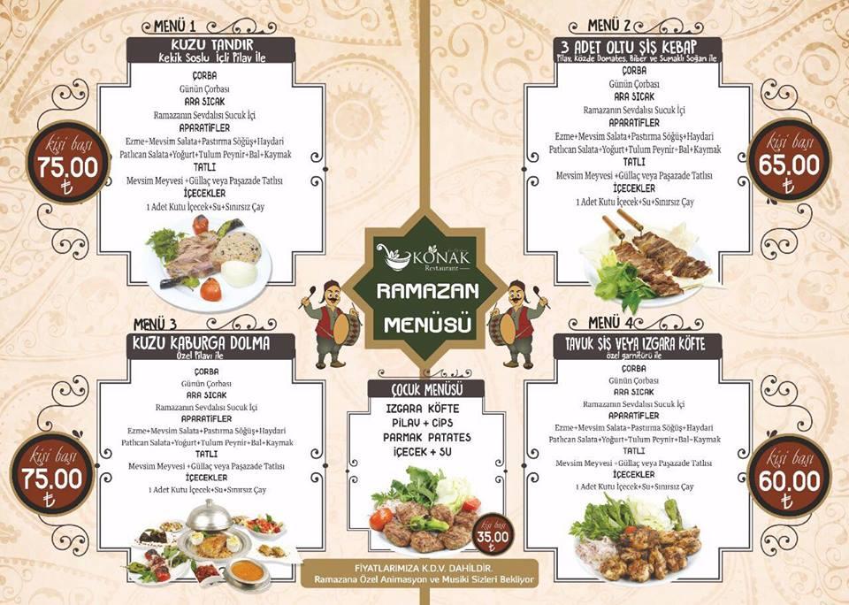 konak restaurant talas kayseri iftar menüleri