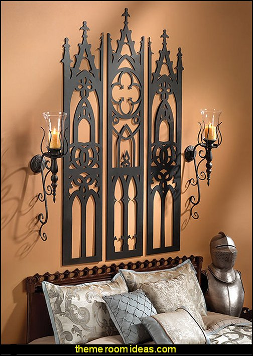 Gothic Cathedral Triptych Metal Wall Sculpture  Medieval Knights & Dragons decorating ideas - knights castle decor - knights and dragons theme rooms - dragon theme decor - prince decor - medieval castle wall murals - knights and dragons baby bedding - Knights Medieval bedding - dragon bedding - dragon murals - dragon themed bedroom ideas - medieval castle furniture - Prince Crown Royal Theme Princess decor
