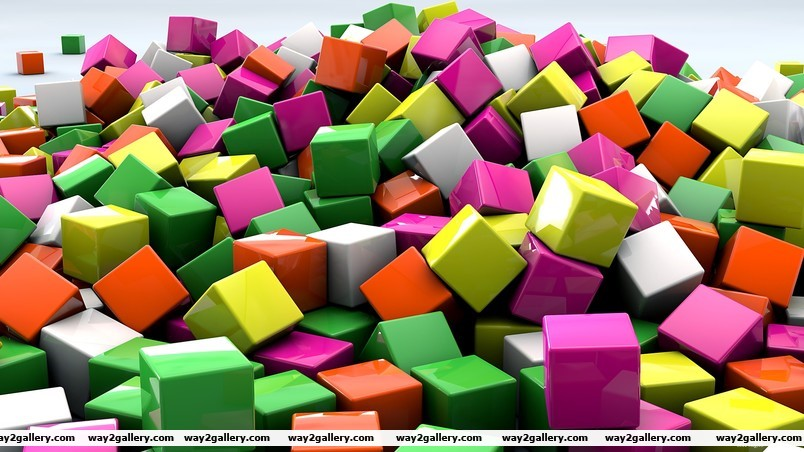 3d coloured cubed wallpaper