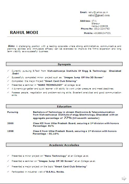 music major resume example