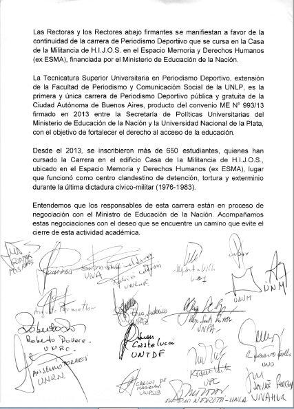 Rectoras/es de universidades nacionales reclaman al gobierno de Mauricio Macri que no cierre la única carrera de Periodismo Deportivo pública, universitaria y gratuita de la Ciudad Autónoma de Buenos Aires, en la ex ESMA