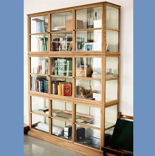 wood bookcase with glass shelves