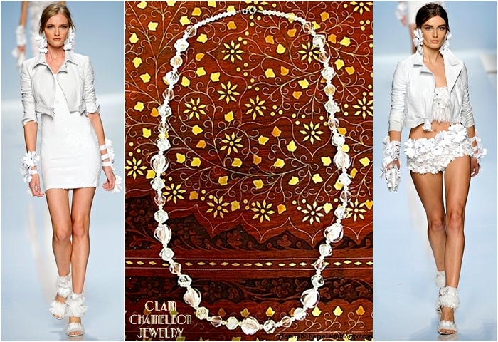 Glam Chameleon Jewelry white glass beads necklace
