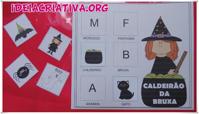 Atividade Recorte Colagem Letra Inicial Caldeirão da Bruxa Halloween