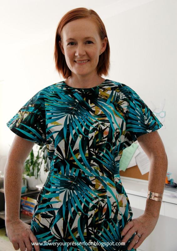 batwing palm print dress