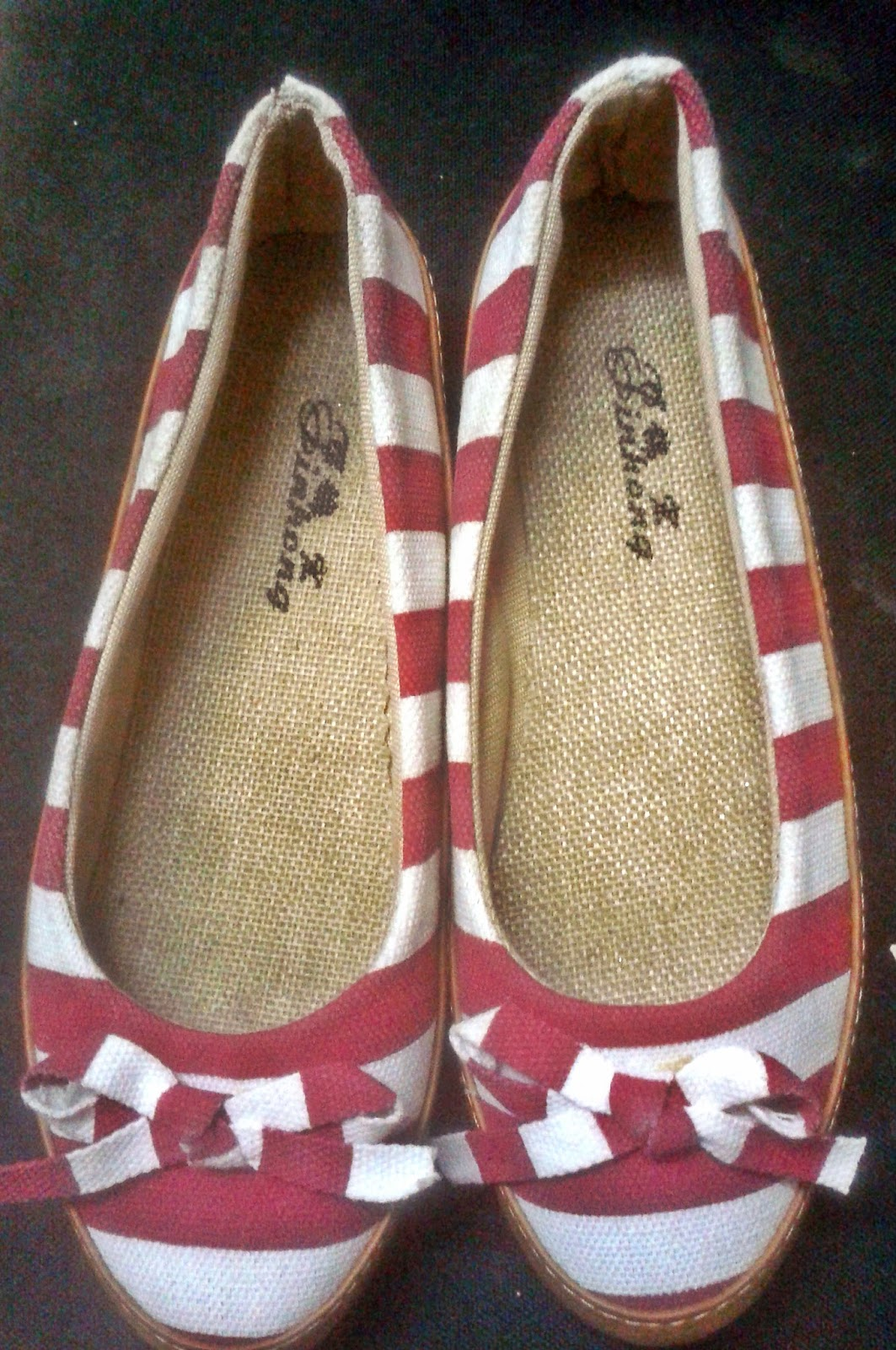 mumbai street shopping, red stripes, canvas shoes, ballet flats