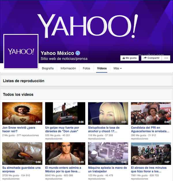 Yahoo Videos en Facebook