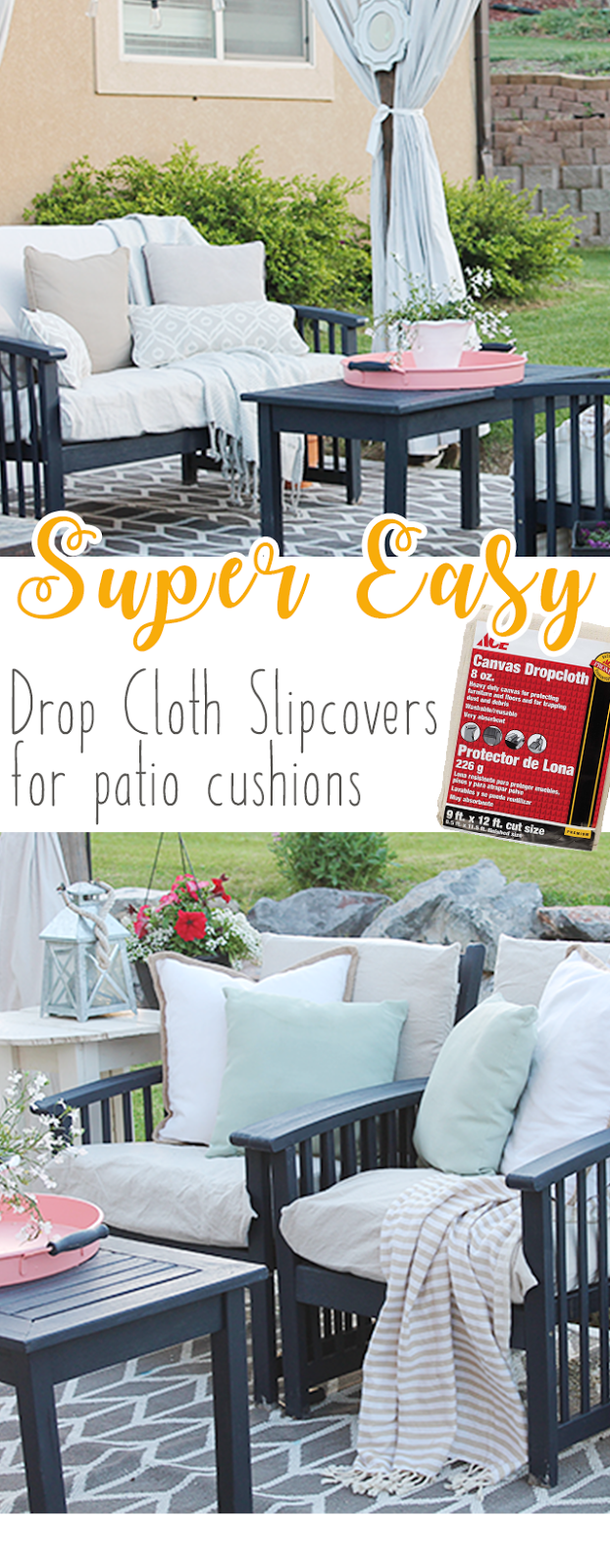 diy drop cloth patio cushion slipcovers easy tutorial on how to make new slipcovers out