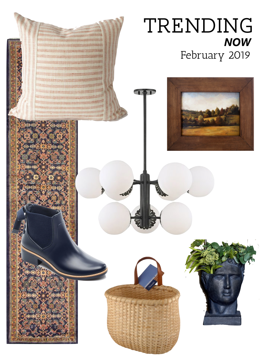Home design trends for spring 2019. Vintage rugs, coral pillows, landscape paintings, globe chandeliers, wall baskets
