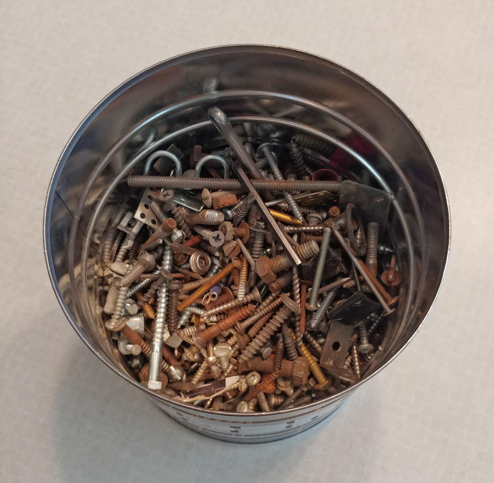 can of nuts and bolts