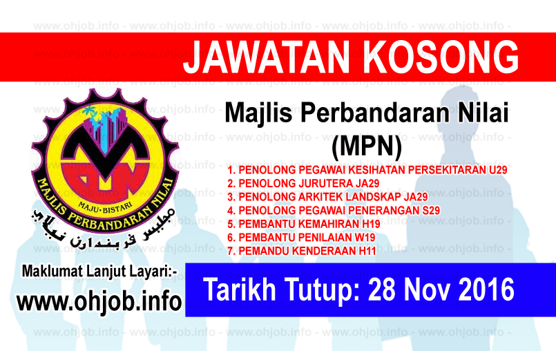 Jawatan Kerja Kosong Majlis Perbandaran Nilai (MPN) logo www.ohjob.info november 2016