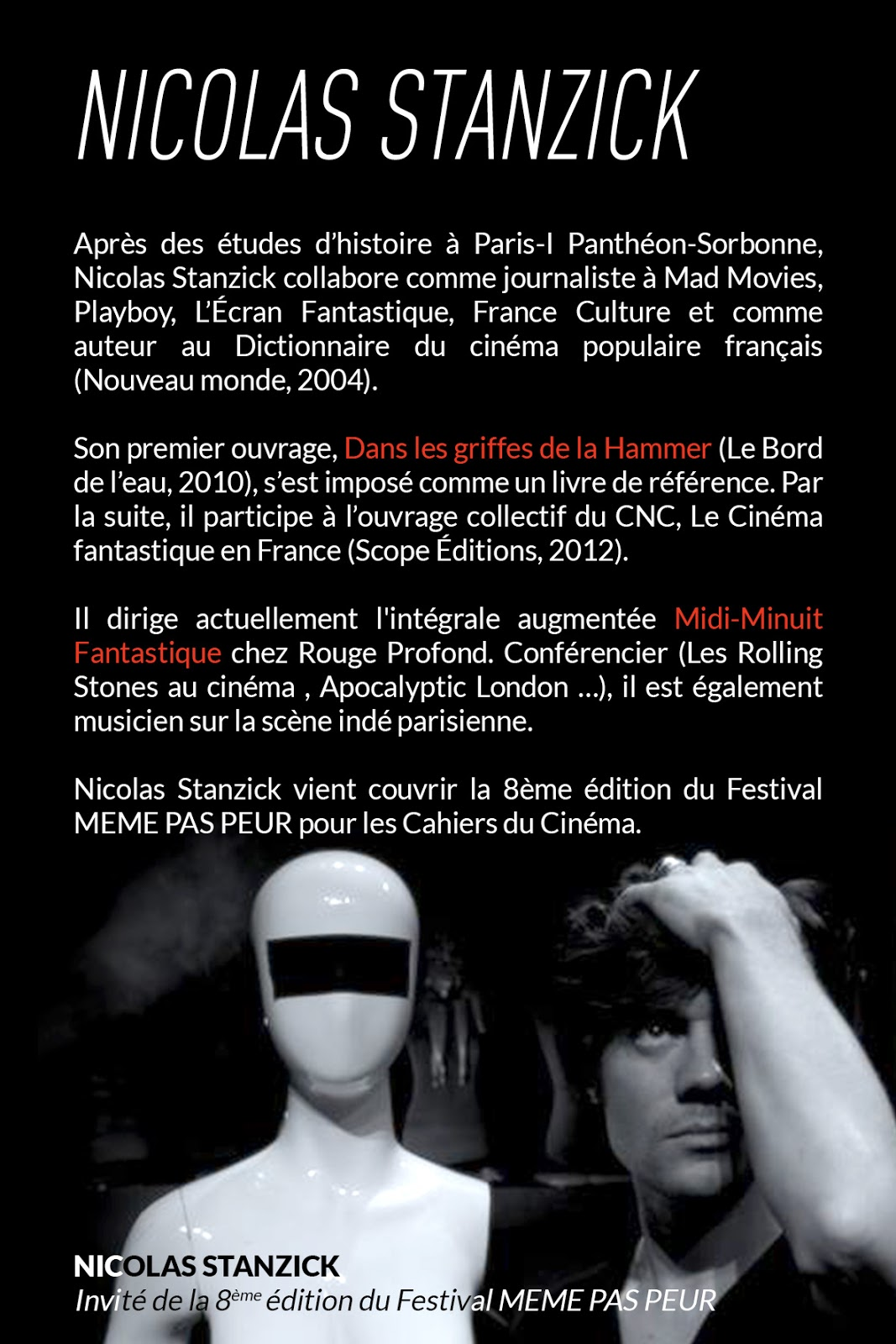Nicolas Stanzick, invité de la 8ème édition du Festival MEME PAS PEUR