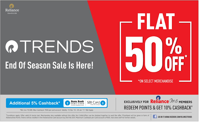 Reliance Trends end of season sale is here ! | December 2016 christmas sale festival discount offers