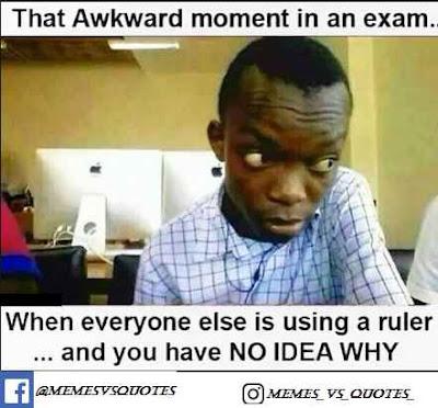 Exam awkward meme