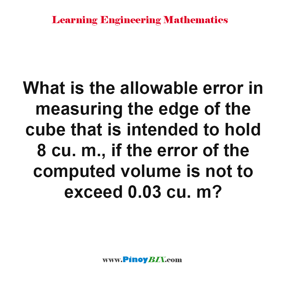 What is the allowable error in measuring the edge of the cube?