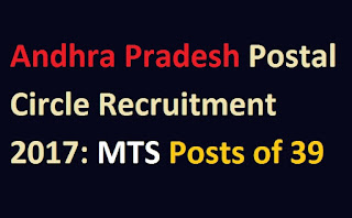 Andhra Pradesh Postal Circle Recruitment 2017: MTS Posts of 39