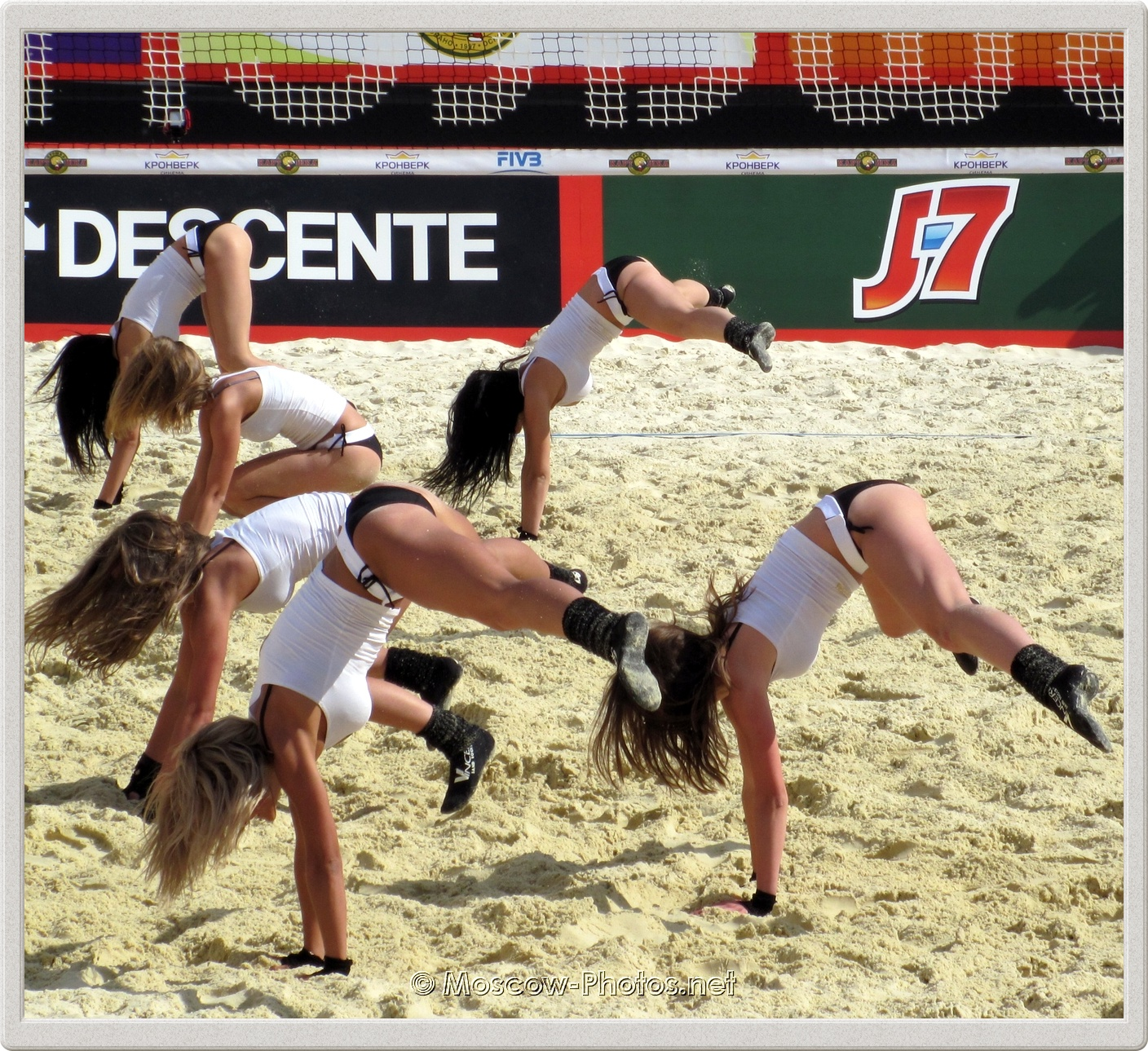 Difficult Exercise of Beach Volleyball Cheerleaders