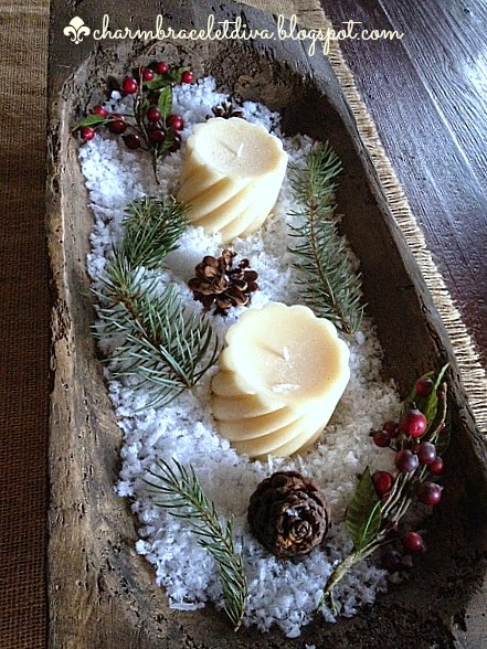 rustic Christmas centerpiece dough bowl greens berries pinecones