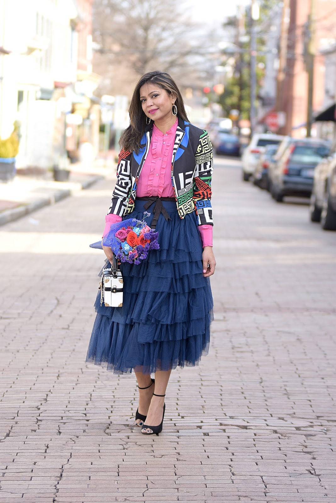 asos tulle skirt, silk blouse, outfit