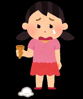 アイスクリームを落とした女の子のイラスト