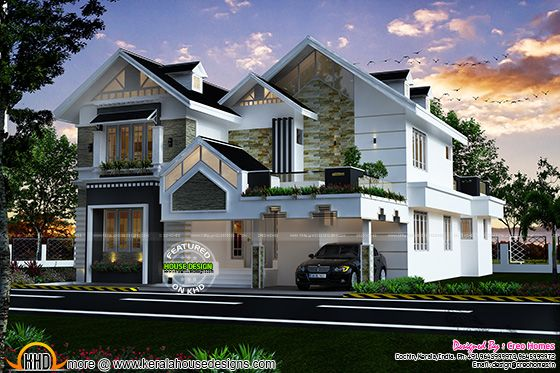 Modern sloped roof luxury house