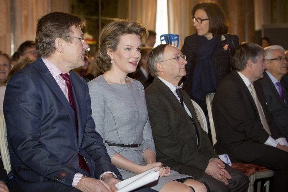 Queen Mathilde of Belgium attend the conference on financial literacy at the Egmont Palace