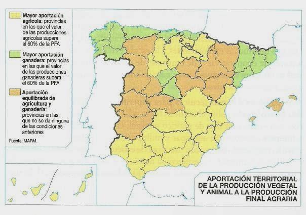 Mapa Tematico De Espana.De Revolutionibus Geo Historia Ejemplo De Comentario De Un Mapa Tematico Del Sector Primario Geografia 2º Bachillerato