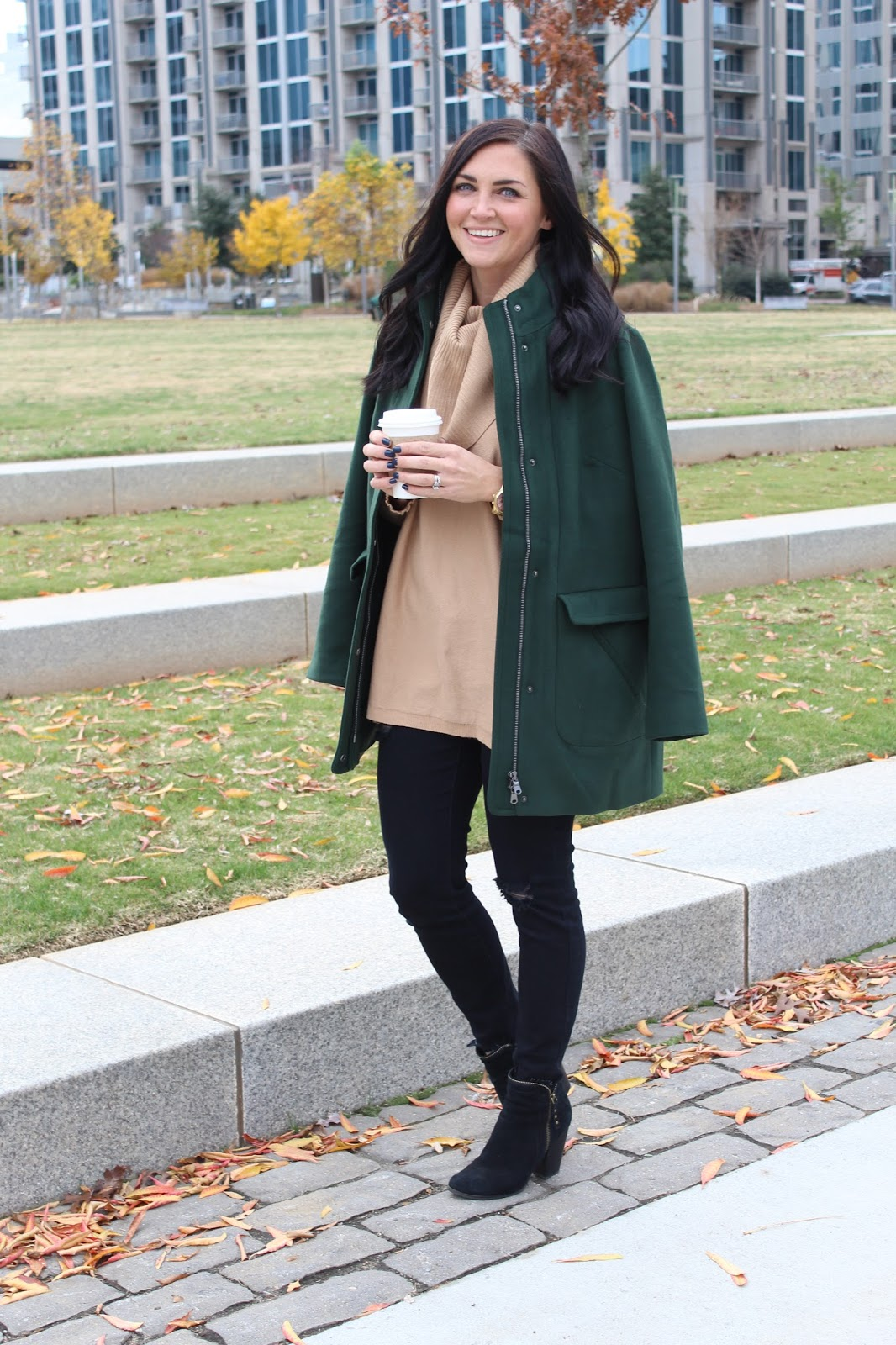 J Jill Hunter green coat | Cowl Neck Nordstrom Sweater | Distressed Black Denim | Charlotte, NC