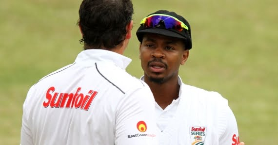 Khaya Zondo discusses with Robbie Frylinck (Credit: Anesh Debiky) - Sunfoil Series - Hollywoodbets Dolphins - Cricket