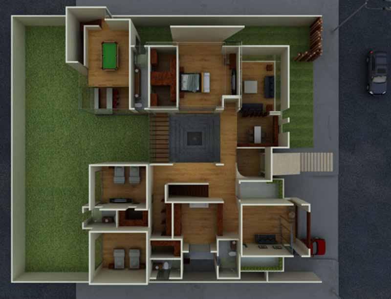 Planta fachada e interiores de casa habitaci n en juarez for Fachadas de casas interiores