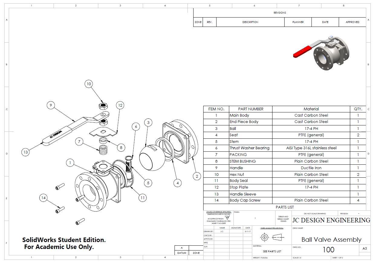 ball valve drawing with bom parts list [ 1240 x 867 Pixel ]