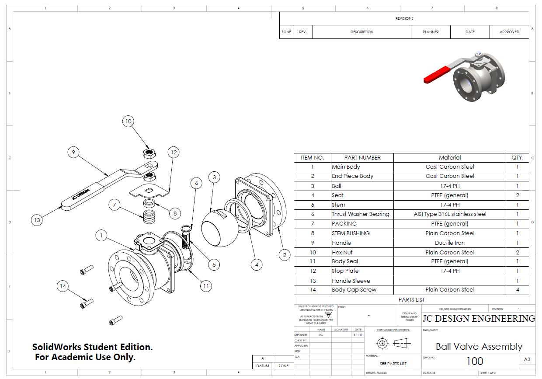 medium resolution of ball valve drawing with bom parts list