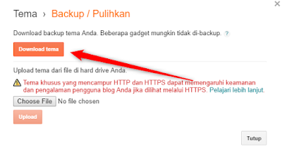Cara Backup Data dan Template di Blog
