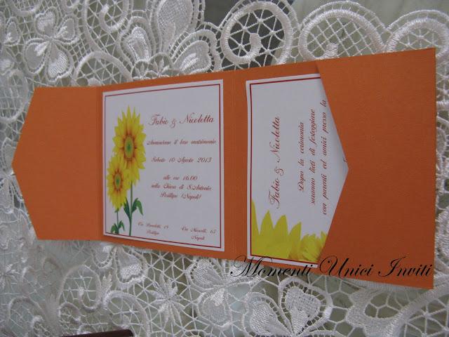 girasole3 Partecipazione pocket modello GirasoleColore Arancio Partecipazioni Pocket