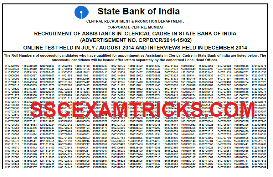 SBI CLERK FINAL RESULT 2015