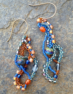 Openwork Freeform Beaded Earrings with right angle weave and peyote stitch by Karen Williams