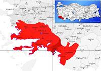 Dalaman ilçesinin nerede olduğunu gösteren harita