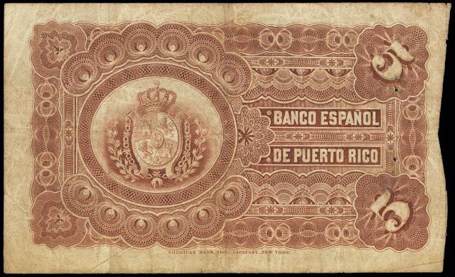 Puerto Rico money 5 Pesos banknote 1894 Banco Espanol de Puerto Rico