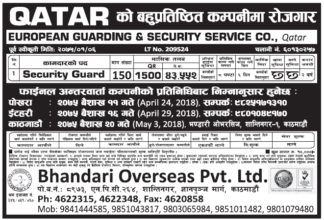 Jobs in Qatar for Nepali, Salary Rs 43, 552