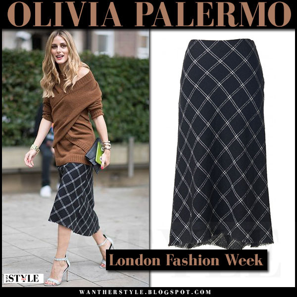 Olivia Palermo in brown sweater and plaid midi skirt tibi salome london fashion week what she wore