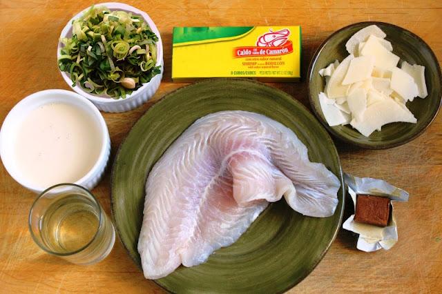 ingredientes para preparar un filete de pescado gratinado