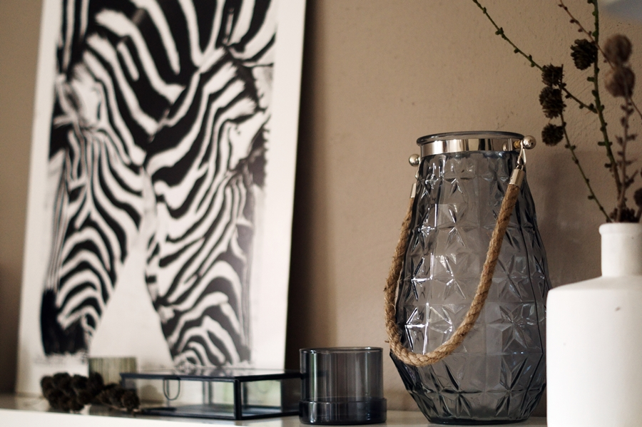 Blog + Fotografie by it's me! - Kooperation Posters - Print Zebras, Glasdose H & M, Windlicht family, weiße Steingutvase