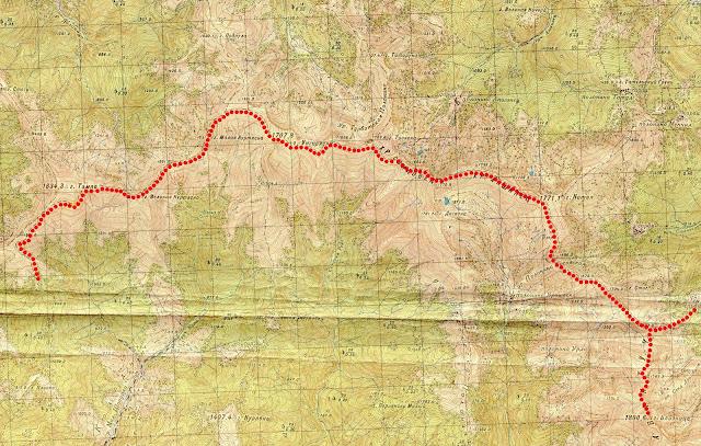 Карта маршрута Близница – хребет Свидовец – Догяска