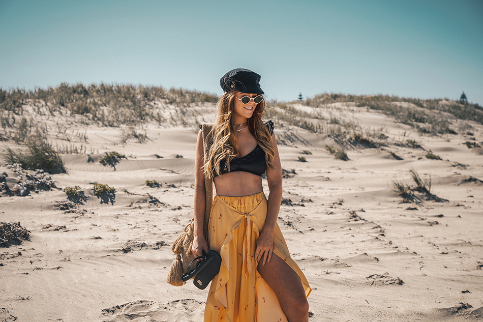 Lion in the Wild, Kiara King, beach outfit, summer style, yellow pants, ASOS bikini,  baker boy cap