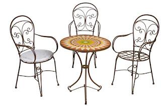 mesa redonda de forja con sillones