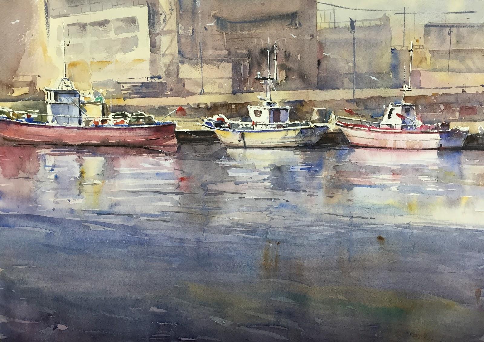 Acuarelas de antonio medina puerto pesquero de val ncia - Laydown puerto valencia ...