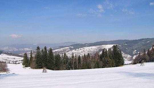 Za laskiem jest dolina Poniczanki. Z lewej widać masyw Lubonia Wielkiego.