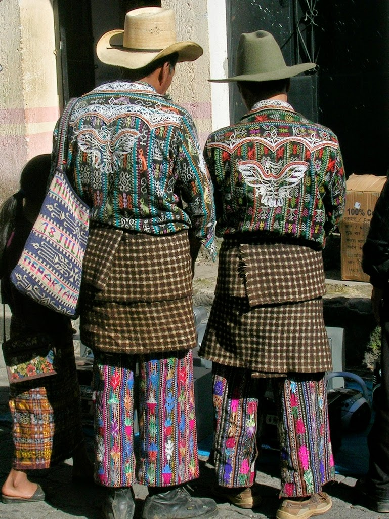 Men from Solola of Guatemala wearing traditional embroidered pants